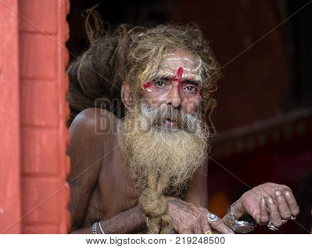 KATHMANDU NEPAL - SEPTEMBER 29 2016 : Portrait Sadhu at Pashupatinath Temple in Nepal. Sadhu is a holy man who have chosen to live an ascetic life and focus on the spiritual practice of Hinduism.