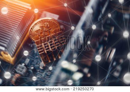 Bitcoin. Golden bitcoin on dark background. Concept Blockchain, cryptocurrencies