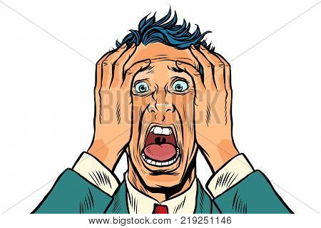 frightened man two hands on the head, panic face. Pop art retro vector illustration