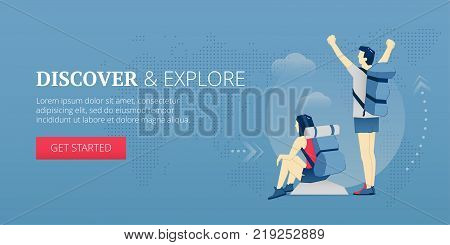 Happy young travelers are on a peak of a mountain. Vector illustration of vacation. Banner template of discovering and exploring