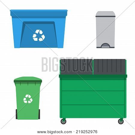 Thrash and recycling can. Garbage rubbish trash container set. Wheeled dumpster. Vector illustration.
