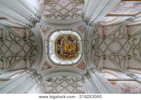 KLADRUBY CZECH REPUBLIC - JULY 27 2016: Gothic vault of the ceiling - Benedictine monastery Kladruby