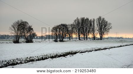 Dutch rural landscape in in the winter season before sunset. The field is covered with snow. In the background high voltage lines and pylons are just visible.