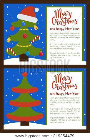merry christmas and happy new year posters with tree ornated with toys in forms of candies