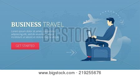 Young businessman sitting with laptop in an airport lounge during a business trip. Vector illustration of business journey. Banner template of business travel