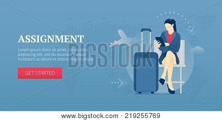 Young business woman sitting with tablet pc in an airport lounge during a business trip. Vector illustration of business journey. Banner template of business trip
