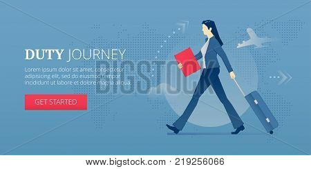 Young business woman carrying her suitcase on wheels in a business trip. Vector illustration of business journey. Banner template of duty journey