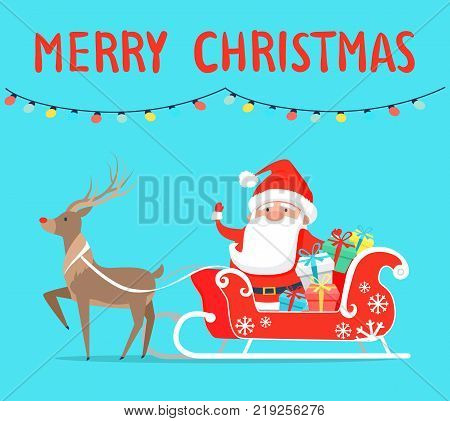 Merry Christmas Santa with reindeer on sledge with presents decorated by bows. Vector illustration xmas congratulations on light blue background