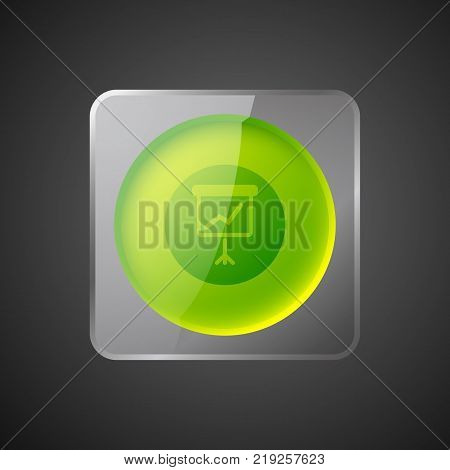 Abstract business concept with green round button in glass square frame and flipchart icon isolated vector illustration