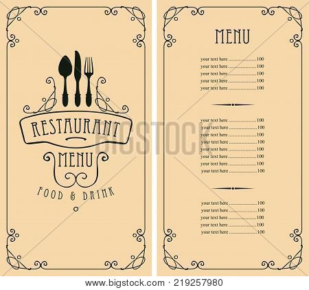 Vector template menu for restaurant with price list and cutlery in curly frame on a light background in baroque style