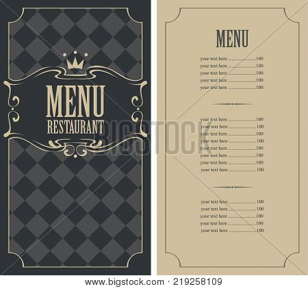 Vector template menu for restaurant with price list and crown in curly frame on the checkered background in retro style