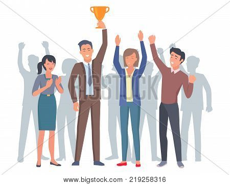 Lucky and applauding four humans with gold trophy in startup. Cheerful office worker raised high yellow cup vector illustration.
