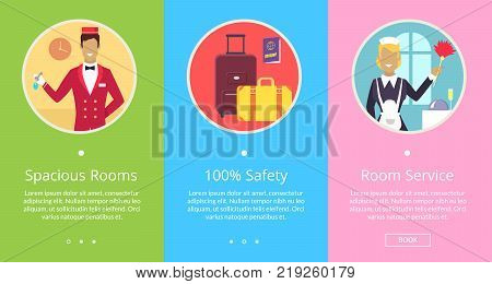Spacious rooms, 100 safety and top service hotel services with bellman and maid cleaning room. Vector illustration contains button Book for online bookings