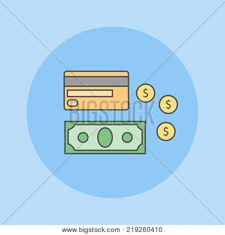 Money flat line icon on blue background. Credit card, bank note and coins. Vector illustration.