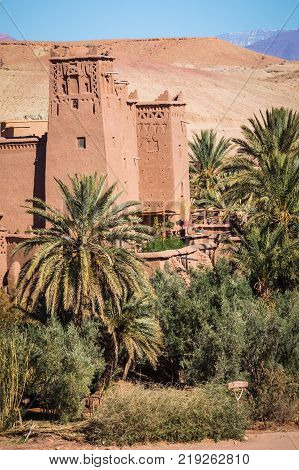 Panorama of Ait Ben Haddou Casbah near Ouarzazate city in Morocco Africa.