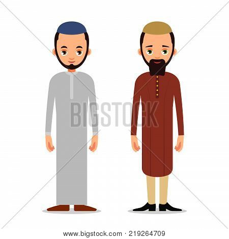 Muslim Man Or Arab Man Stand In The Traditional Clothing. Isolated Characters Of Representatives Of