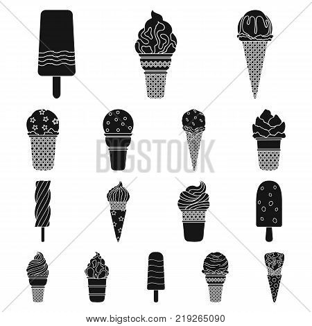 Different ice cream black icons in set collection for design. Dessert and sweetness vector symbol stock  illustration.
