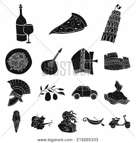 Country Italy black icons in set collection for design. Italy and landmark vector symbol stock  illustration.