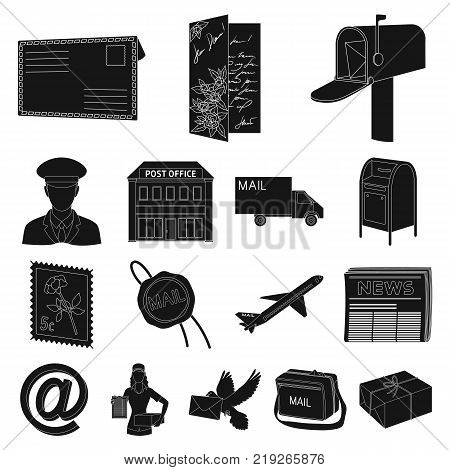 Mail and postman black icons in set collection for design. Mail and equipment vector symbol stock  illustration.