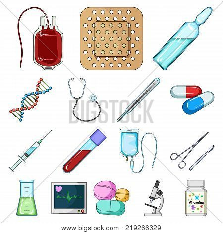 Medicine and treatment cartoon icons in set collection for design. Medicine and equipment vector symbol stock  illustration.