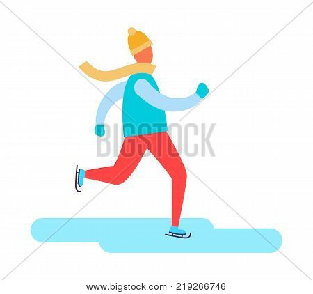 Man in earphones running in warm winter cloth vector illustration isolated on white background. Boy dressed in jacket and red jeans warming up