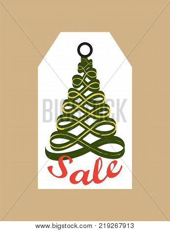 Sale promo tag with evergreen tree made of abstract ribbon, promo label in Christmas and New year concept vector illustration commercial cardboard