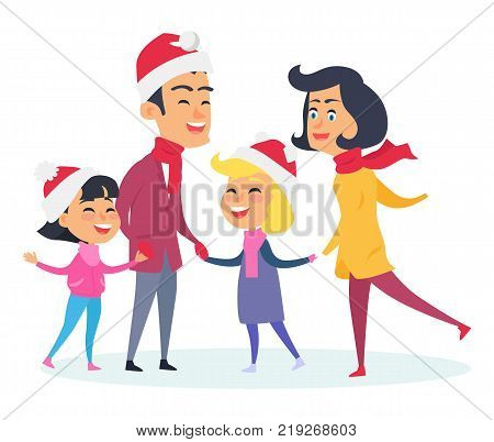Happy family in warm clothes on white background. Vector illustration of big family with two girls who wear Christmas red hats. Preparation to celebration of New Year holidays in flat style design