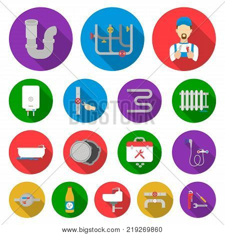Plumbing, fitting flat icons in set collection for design. Equipment and tools vector symbol stock  illustration.