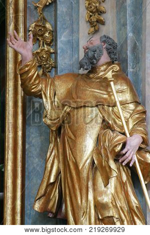 LEPOGLAVA, CROATIA - MARCH 17: Statue of saint on the altar of Saint Paul the Hermit in the church of Immaculate Conception in Lepoglava, Croatia on March 17, 2017.