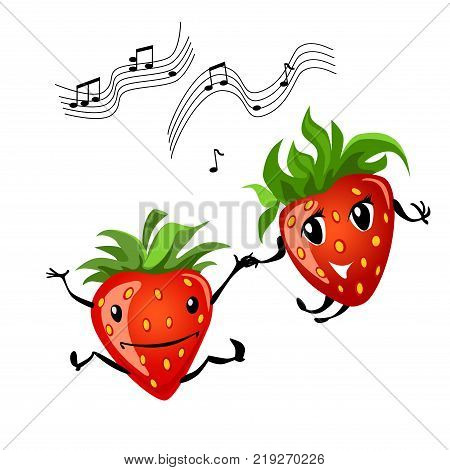 Strawberry dancing. Cartoon illustration of berries. Funny positive and friendly strawberry emoticon face food emoji. Icon comical fruit