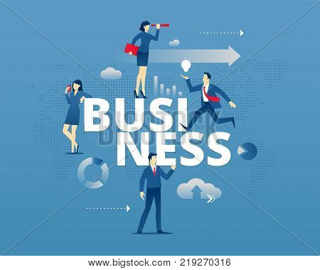 Business metaphor of create business. Businessmen and businesswomen faceless characters in action around word BUSINESS. Vector illustration isolated on blue background