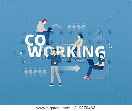 Business metaphor of coworking space. Young adult faceless vector characters in action around word COWORKING. Vector illustration isolated on blue background