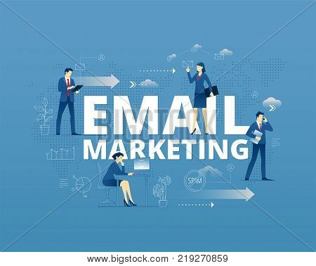 Business metaphor of modern email marketing. Businessmen and businesswomen faceless characters in different movements around words EMAIL MARKETING. Vector illustration isolated on blue background