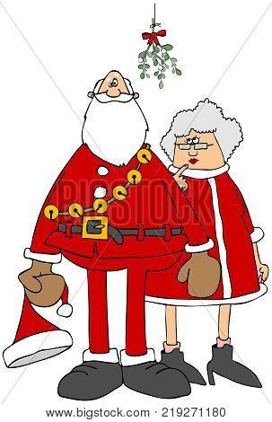 Illustration of a reluctant Santa & Mrs. Claus standing under some hanging mistletoe.