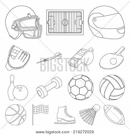 Different kinds of sports outline icons in set collection for design. Sport equipment vector symbol stock  illustration.