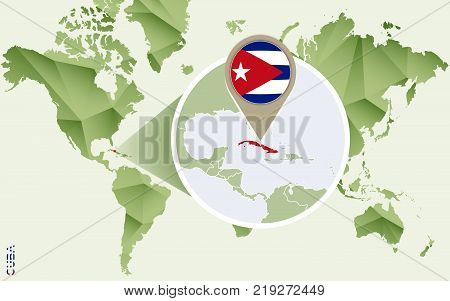 Infographic for Cuba detailed map of Cuba with flag. Vector Info graphic green map.