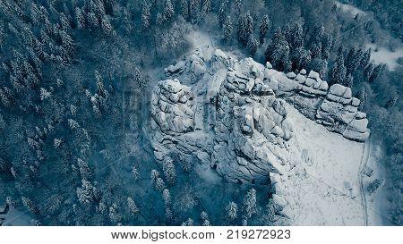 Winter in Carpathian Mountains. High-altitude aerial shot.