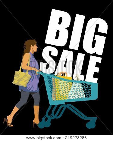 Big Sale. Creative colorful poster. Woman on shopping with shopping trolley and shopping bags. Black Friday design template on black background. Vector illustration.