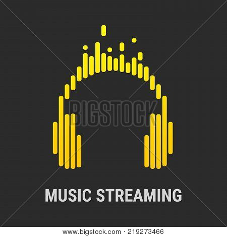Yellow logo in the form of headphones with equalizers. Icon for the application or logo for the site.