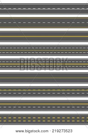 Seamless set of nine different road marking. Top view of horizontal straight asphalt roads. Templates with different white and yellow marking, asphalt surfacing and seamless borders. Includes 9 vector brushes of roads