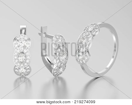 3D illustration set of white gold or silver decorative diamond earrings with hinged lock and three stone solitaire engagement ring on a grey background