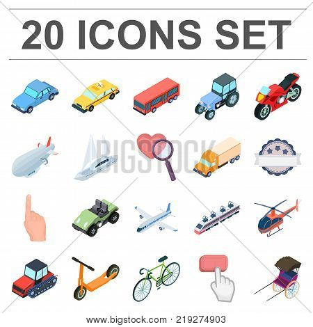 Different types of transport cartoon icons in set collection for design. Car and ship isometric vector symbol stock  illustration.