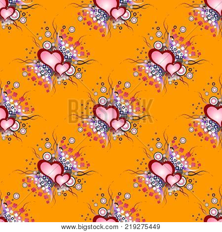 Seamless background pattern. Will tile endlessly. Set of grunge hearts