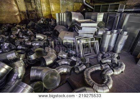 Steel pipes, frames, boxes and other parts for construction of ducts of industrial air condition system.