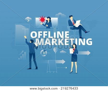 Business metaphor of traditional marketing and product promotion. Businessman and businesswoman faceless characters in action around word OFFLINE MARKETING over digital world map. Vector illustration isolated on blue background