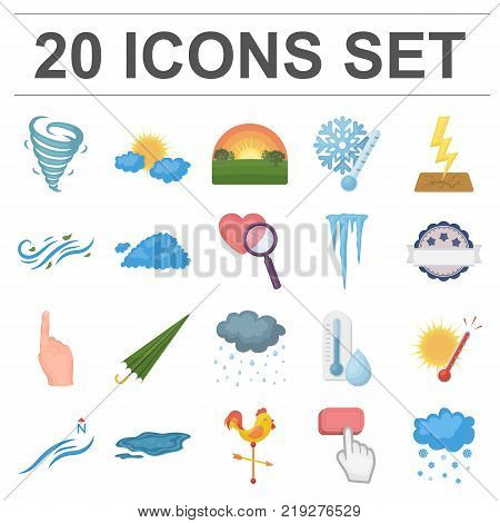Different weather cartoon icons in set collection for design.Signs and characteristics of the weather vector symbol stock  illustration.
