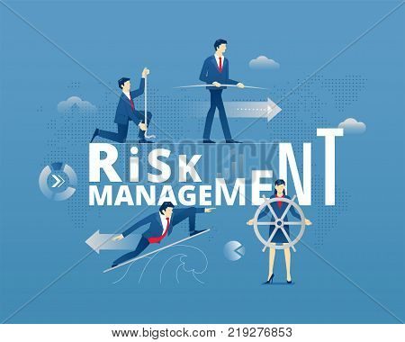 Business metaphor of financial risks precautions. Businessman and businesswoman faceless characters in action around word RISK MANAGEMENT over digital world map. Vector illustration isolated on blue background