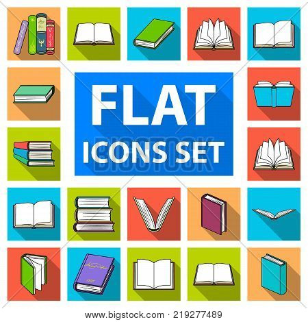 Book in the binding flat icons in set collection for design. Printed products vector symbol stock  illustration.