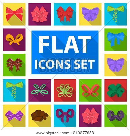 Multicolored bows flat icons in set collection for design.Bow for decoration vector symbol stock  illustration.