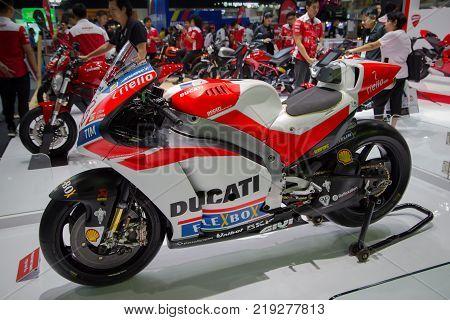 Bangkok Thailand - December 11 2017: Ducati Desmosedici GP Superbike presented in Motor Expo 2017